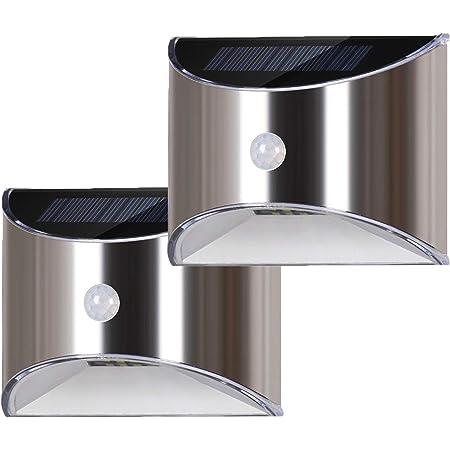 LED Solarleuchte Edelstahl Treppenlicht Gartenlampe Wandleuchte Außenleuchten DE