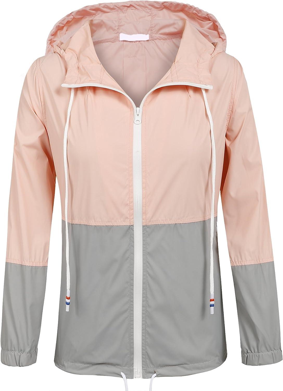 SoTeer Women's Waterproof Raincoat Outdoor Hooded Rain Jacket Windbreaker (15 Colors S-XXXL)