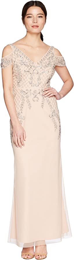 Petite V-Neck Long Beaded Mob Gown with Cap Sleeves