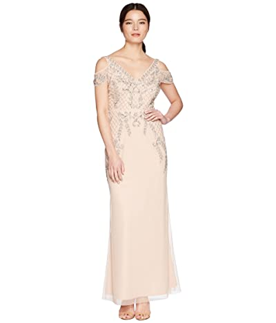 Adrianna Papell Petite V-Neck Long Beaded Mob Gown with Cap Sleeves (Blush) Women