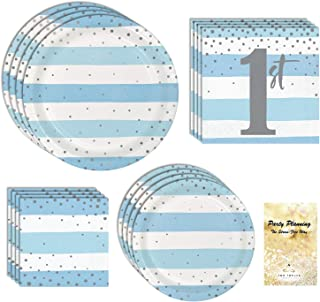 Boys 1st Birthday Party Supplies, Blue & White Stripes with Silver Dots, 16 Guests, 65 Pieces, Disposable Paper Dinnerwar...