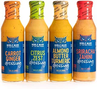 Noble Made by The New Primal, Dressing Variety Pack, Includes Sriracha Tahini, Carrot Ginger, Almond Butter Turmeric & Cit...
