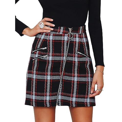 bca1c56c40 Simplee Women's Elegant Plaid Tweed High Waist Zipper Front A Line Mini  Skirt