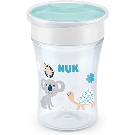 NUK Magic Cup vaso antiderrame bebe | Borde a prueba de derrames de 360° | +8meses | Sin BPA | 230ml | Tortuga (transparente) | 1unidad