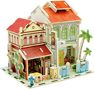 Yamix 3D Wooden Puzzle DIY 3D Puzzle House Model World Architectural House Building Kit Jigsaw Puzzles Gifts for Boys and Girls (Singapore Old Street )