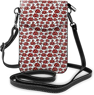 Women Small Cell Phone Purse Crossbody,Happy Ladybird Family Parents And Children Hand Drawn Style Childish Bug Beetle