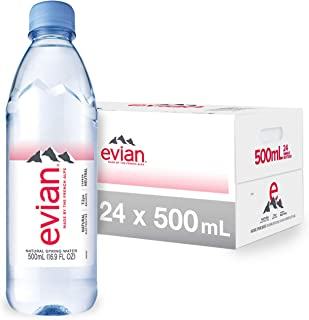 evian Natural Spring Water Bottles, Naturally Filtered Spring Water in Individual-Sized..