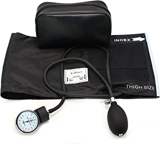 """LotFancy Aneroid Sphygmomanometer, Manual Blood Pressure Monitor with Zipper Case, Thigh Size Cuff (16-26""""), FDA Approved"""