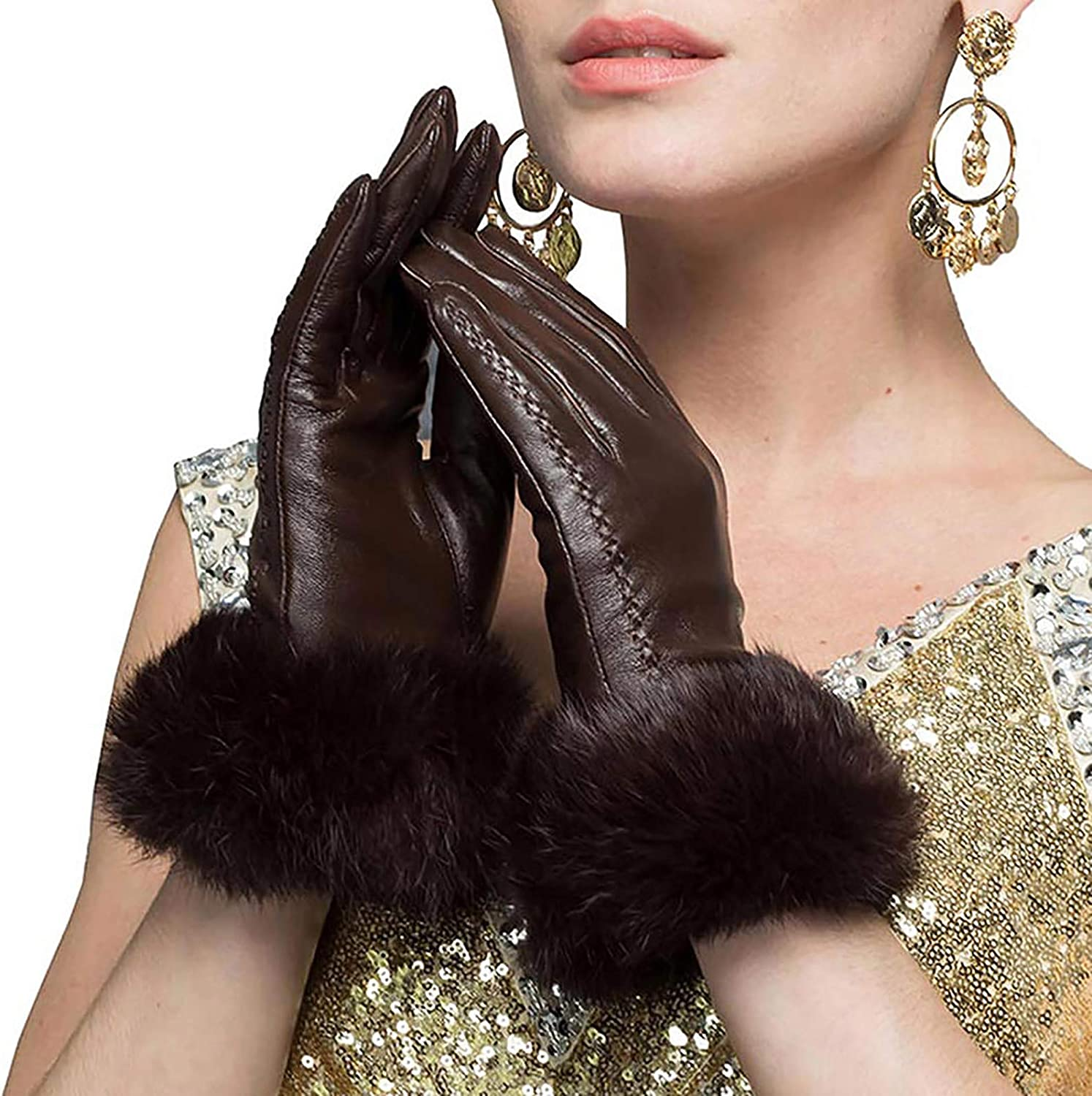 CosplayNow Women's Genuine Leather Lambskin Gloves Warm Patchwork Cold Weather Driving Gloves