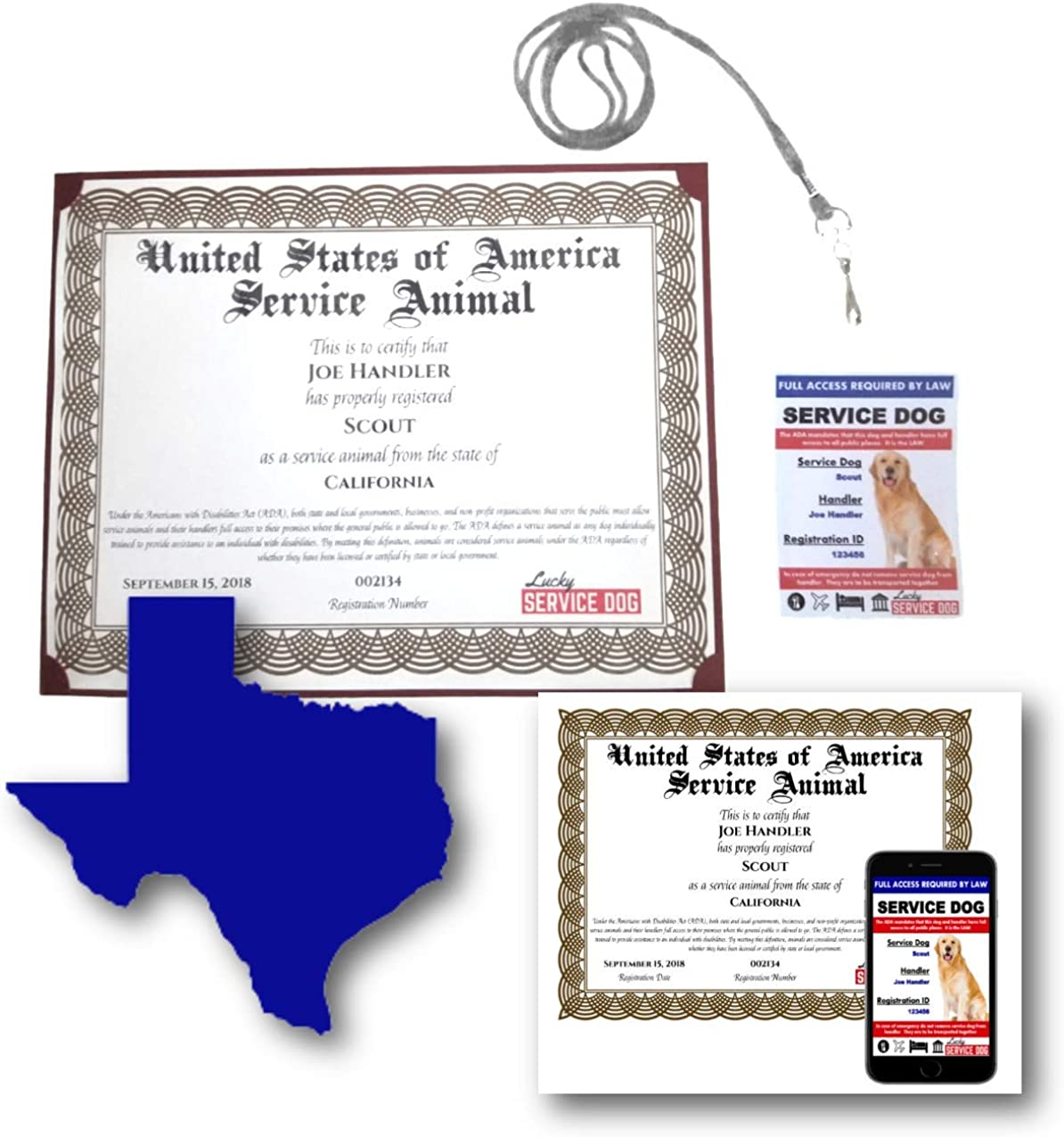 Amazon Com Texas Service Dog Certificate Photo Id Clothing