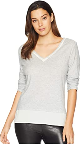 V-Neck Woven Hem Layered Top