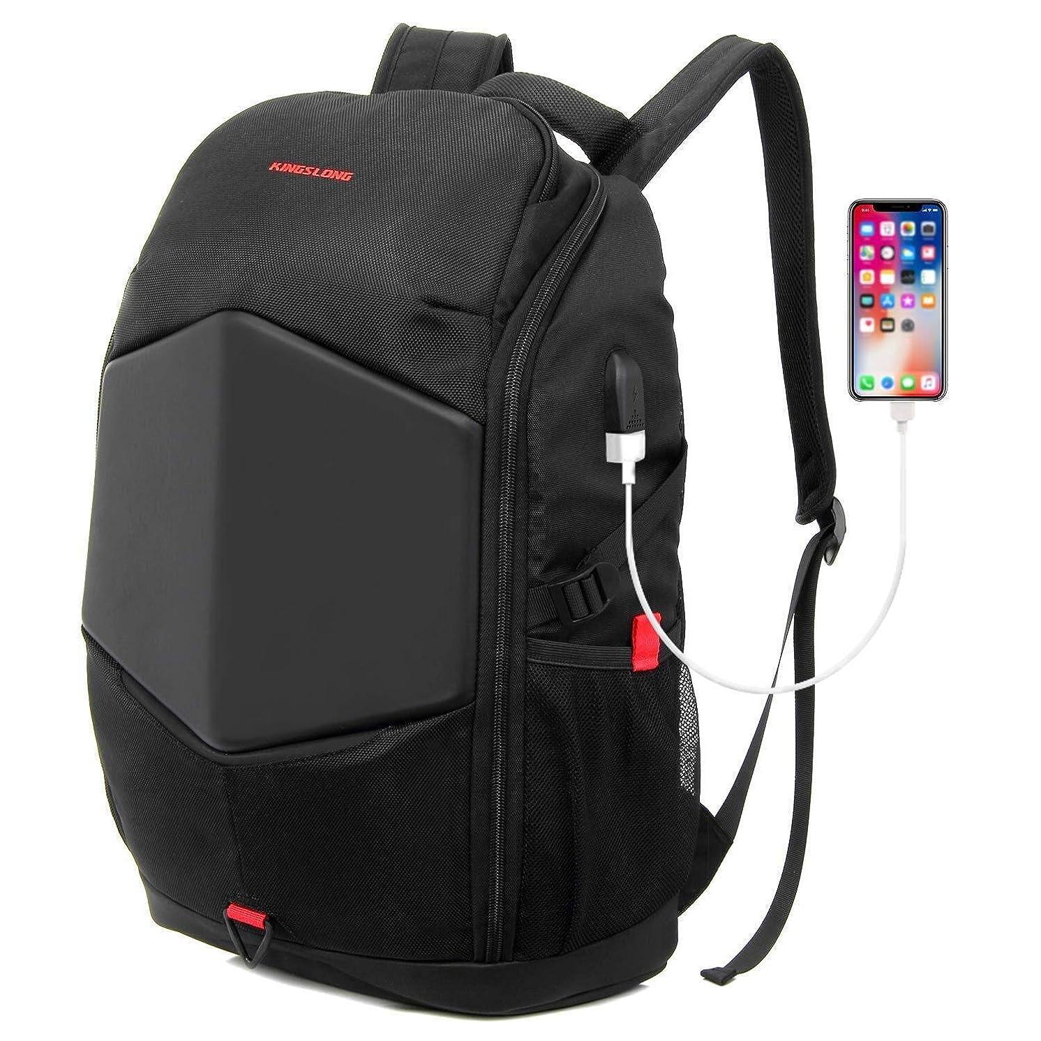 KINGLONG Laptop Backpack 17.3 inch Gaming Backpack External USB Charge Port Waterproof Business Travel Backpack Computer Bags for Men Women(Black)