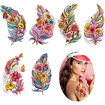 Amazon Com Viwieu Large Feather Flower Temporary Tattoos 6 Sheets Colored 3d Body Art Accessories For Adults Women Teen Girls Water Transfer Fake Beach Feather Tattoo Stickers For Festival Costume Party Beauty