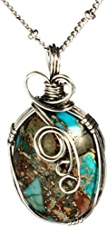 Handmade Wire Necklace Natural Stone Agate Women's Art Jewelry-Wire Wrap Pendant