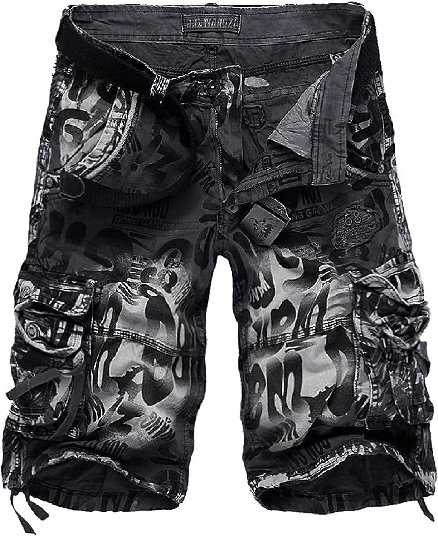 GHJX Men's Stitching Multi-Pocket Cargo Shorts Fashion Trend Camouflage Casual
