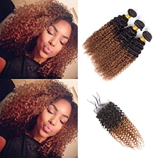 Ombre Bundles With Closure Kinky Curly Human Hair Virgin Hair T1B/30 Brown Two-tone 3 Bundles With 4x4 Lace Closure 8A Grade Soft Brazilian Hair Extensions (10