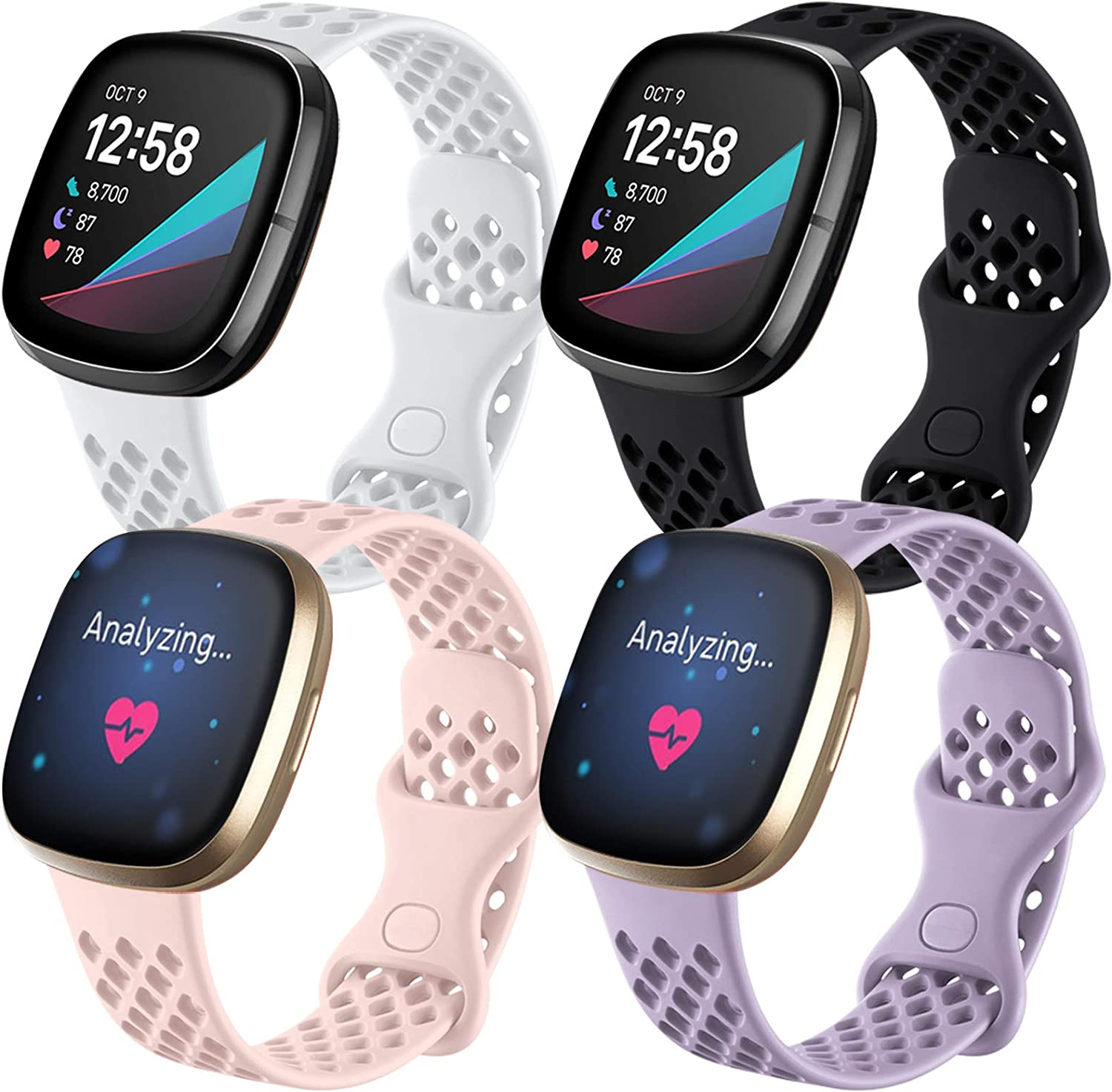 Maledan Compatible with Fitbit Sense and Versa 3 Bands for Women Men, Breathable Sport Band Replacement Wristbands Accessories Waterproof Strap with Air Holes, Small, 4-Pack Black/Pink/White/Lavender