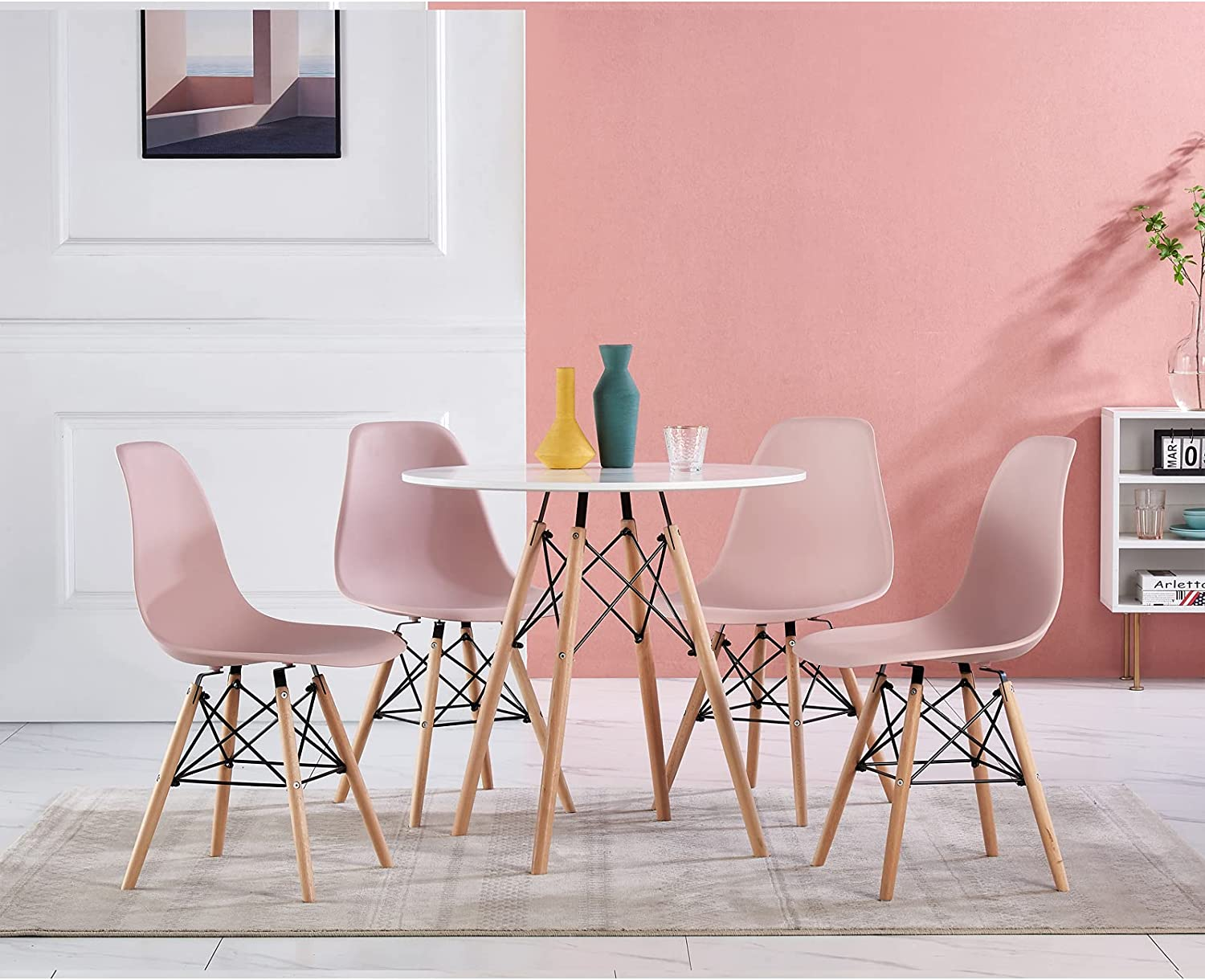 Buy ZOONFA Dining Table with Chairs Set of 9 White Plastic Chair ...