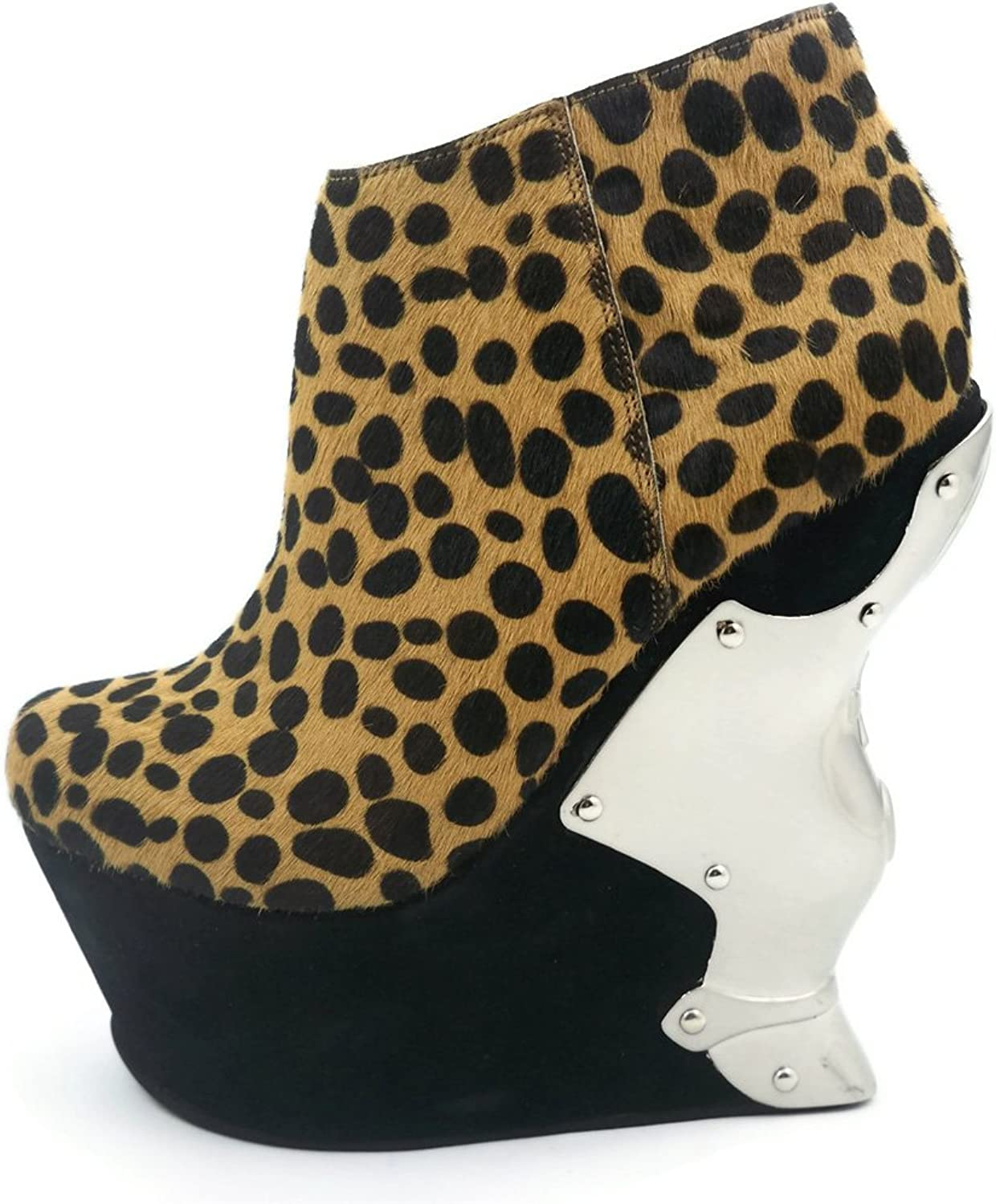 Hades shoes H-Pantera Ankle boot of soft leopard fabric & inner zipper 10 Leopard