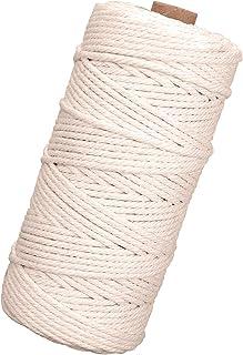 TENSUN 3mm x 100m Baumwolle Garn Naturliches Baumwollgarn Baumwollkordel Makramee Garn, Kordel DIY Handwerk für Wand Aufhängung Pflanze Aufhänger