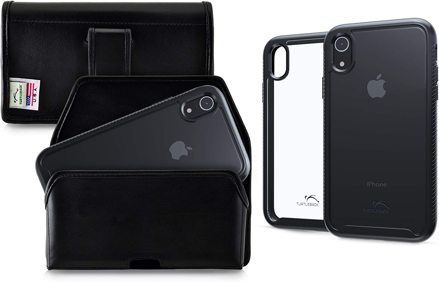 Turtleback Tough Defense Case/Holster Combination Designed for iPhone XR Military Grade Drop Tested Ultra Clear Back Fitted in Black Leather Belt Pouch, Executive Belt Clip-Horizonal/Black