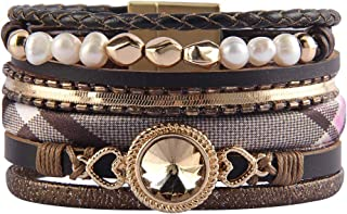 Jenia Women Leather Cuff Bracelet Multi Strand Wrap...