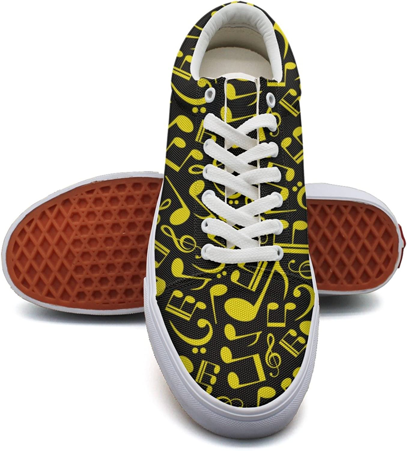 Feenfling Music Note Notation Womens Fashion Canvas Tennis shoes Low Top Vintage Sneakers shoes for Women's