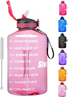 Half Galllon Water Bottle with Time Marker & Straw,BPA Free Reusable Large Motivational Fitness Sports Water Bottle Leakpr...