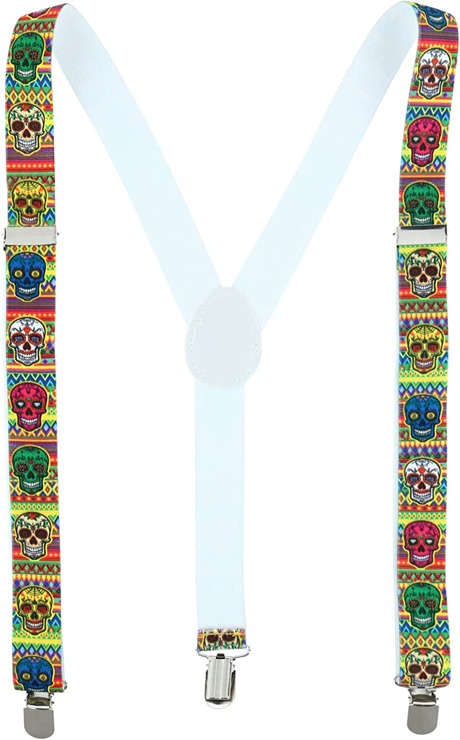 CTM Women's Day of the Dead Skull Print Clip-End Suspenders