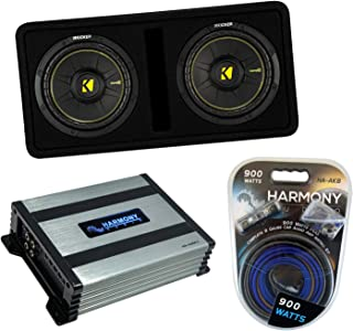 """$369 » Kicker DCWC10 Car Audio CompC Ported Dual 10"""" Loaded Sub Box 44DCWC102 Bundle with Harmony HA-A400.1 Amplifier & Amp Kit"""