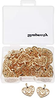 Shapenty Metal Heart Charms Beads Bulk for DIY Craft Pendants Bracelet Necklace Earring Keychain Jewelry Making Finding Ac...