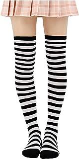 Striped Stockings Over Knee Thigh High Socks Anime Preppy Socks Multi color