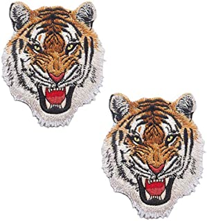 Patches Iron on GodEagle White Tiger Head Appliqued Embroidery Patches Scout Embroideried Pacthes Iron on//Sew on for Jacket Jeans