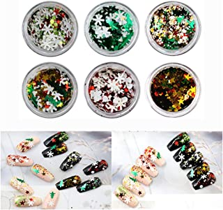Molisell Sequins Nail Art Decoration Glitter Set,6 Jar 3D Snowflakes Christmas Tree Star Gold Metal Slices Nail Art Sequins Christmas Decoration Nail Polish Thin Sticker Mermaid Sparkly