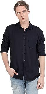 S54 Men's Viscose Linen Black Color Poly Collar Full Sleeve Casual Wear Shirt