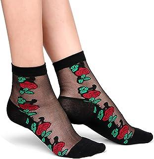 NiceButy - 2 pares de calcetines transparentes para mujer con lentejuelas transparentes