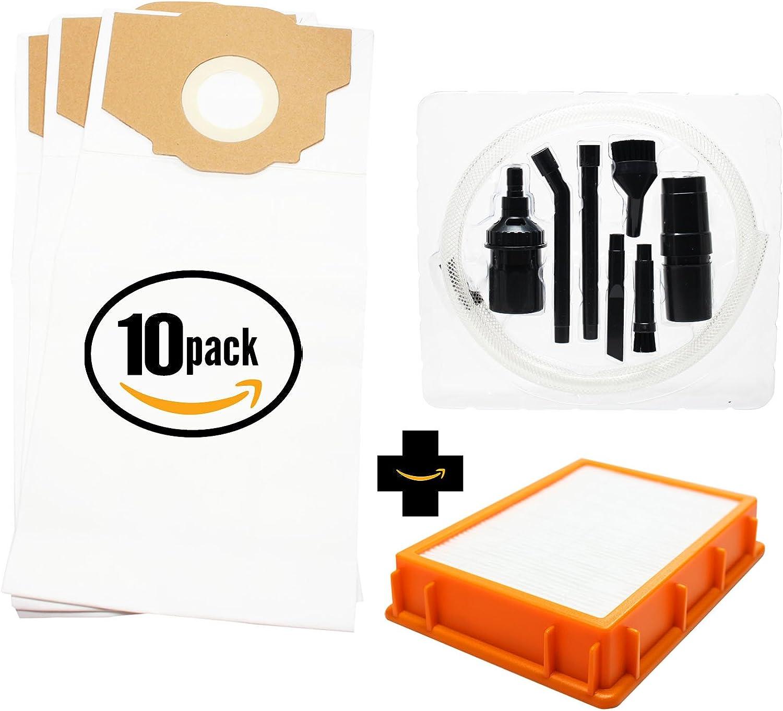 30de repuesto Eureka 4870MZ al vacío bolsas y 1filtro HEPA con (7piezas Kit de fijación de vacío Micro–Compatible con Eureka estilo RR–bolsas de vacío y filtro de HF-2