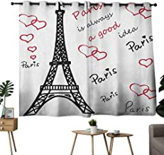 Mannwarehouse Eiffel Tower Thermal Curtains Eiffel Paris is Always a Good Idea Tourism Locations Love Valentines Suitable for Bedroom Living Room Study, etc.55 Wx72 L Red Black White