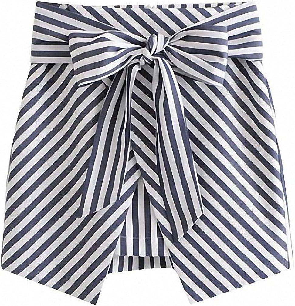Womens Sweet Bow Tie Sashes Striped Skirt Back Zipper Design Faldas Mujer Retro Female Casual Chic Mini Skirts
