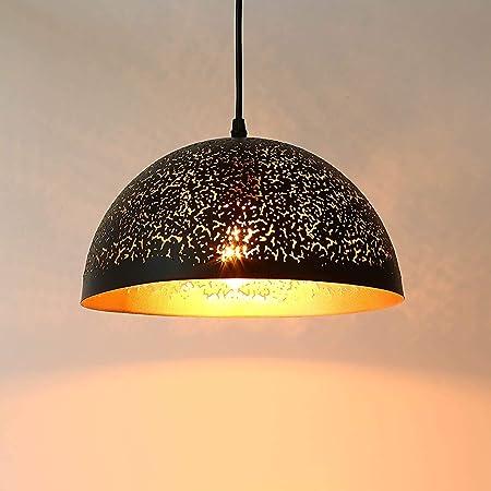 Lightess Suspension Luminaire Industrielle en Métal Vintage Suspension Lamp Noir Or Éclairage de Plafond en Osier Lustre Métal Plafonnier Rétro E27 pour Salon Chambre Bar [Classe énergétique A+]
