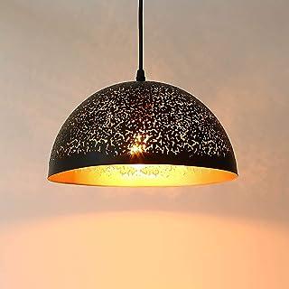 Lightess Suspension Luminaire Industrielle en Métal Vintage Suspension Lamp Noir Or Éclairage de Plafond en Osier Lustre M...