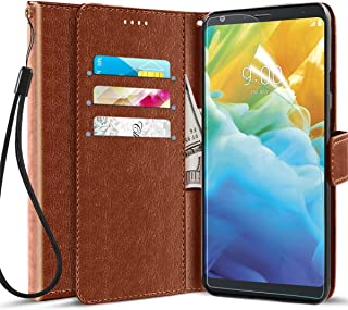 Case for LG Stylo 4,LG Stylo 4 Plus Wallet Case,LG Q Stylus Phone Case with Screen Protector,Kickstand Magnetic Card Slots Wrist Strap Flip Folio PU+TPU Dual Layers Shockproof Protective Leather,Brown