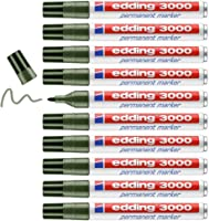 edding 3000 permanent marker - olijf-groen - 10 stiften - ronde punt 1,5-3 mm - sneldrogende permanent marker - water-...