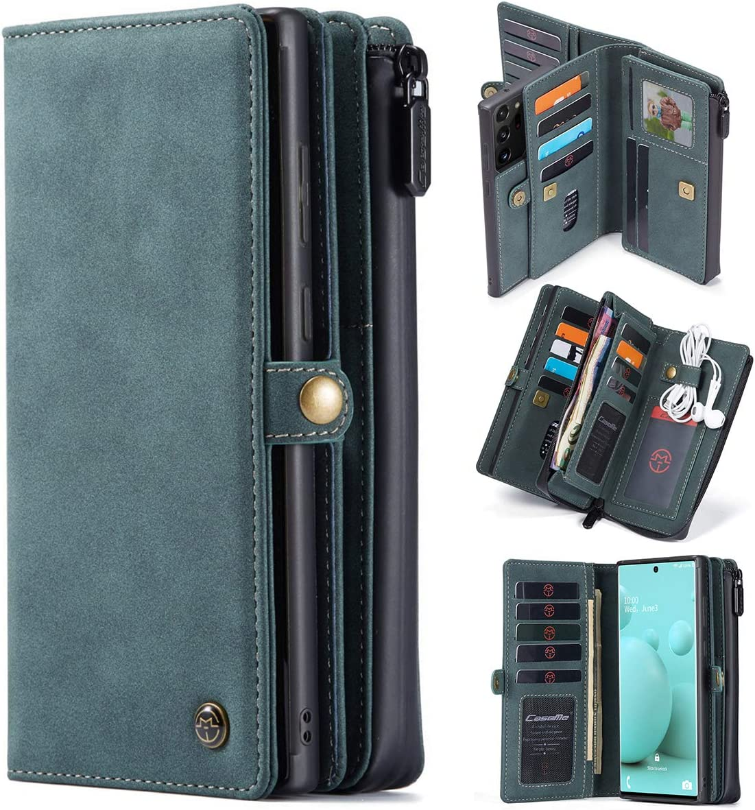 Genuine Leather Wallet Case Cell Phone Sleeve Holster, 17 Cards Holder RFID Protection+Detachable Magnetic Cover+Zipper Phone Pouch for Samsung Galaxy Note 20 Ultra 6.9-inch 2020 (Blue, Note20)