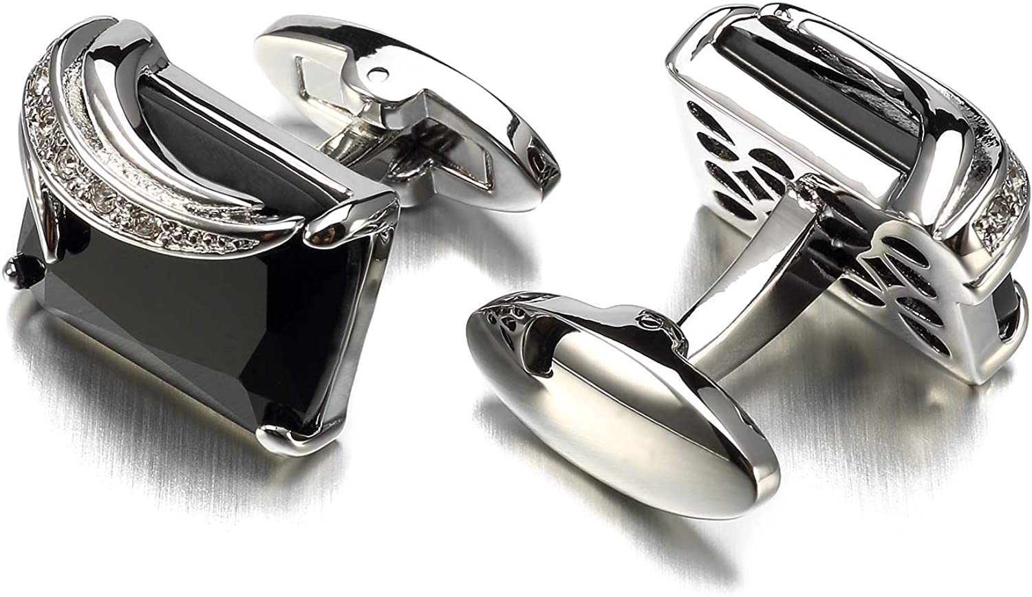 LEPTON Crystal Cufflinks for Men and Father, Luxurious Cufflinks with Delicate Gift Box, Perfect for Wedding Party or Significant Occasion