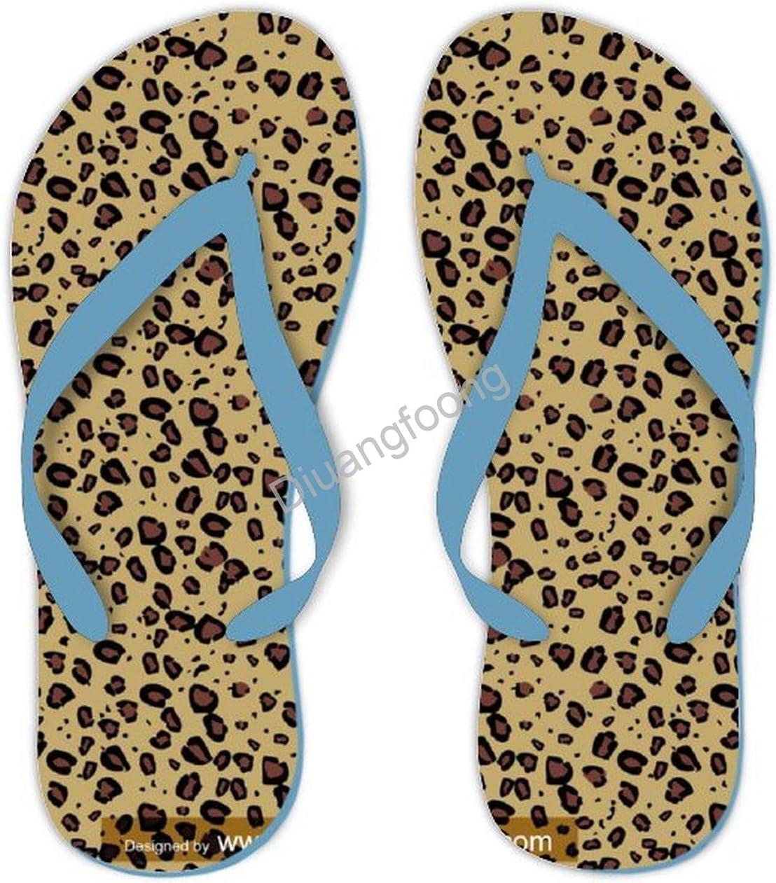 Leopard Flip Flop Comfortable Unisex Thong Sandals Eva Sandal For Men Women Blue-Style9