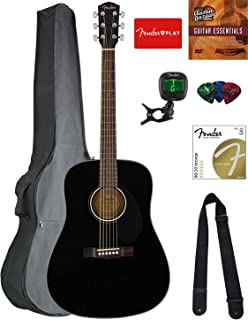 Fender CD-60S Solid Top Dreadnought Acoustic Guitar - Black Bundle with Gig Bag, Tuner, Strap, Strings, Picks, Austin Bazaar Instructional DVD, and Polishing Cloth