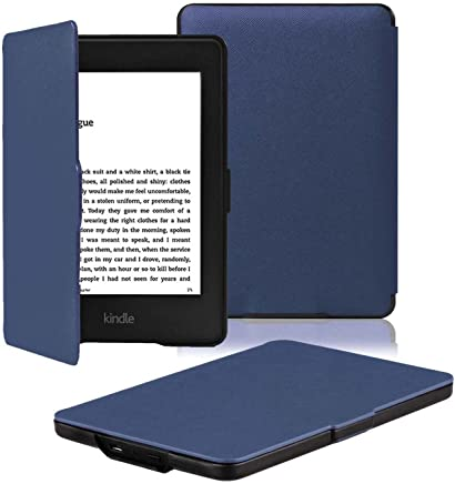 OMOTON Kindle Paperwhite Case Cover - The Thinnest Lightest PU Leather Smart Cover Kindle Paperwhite fit for All Version up to 2017 (Will not fit All Paperwhite 10th Generation 2018), Navy Blue