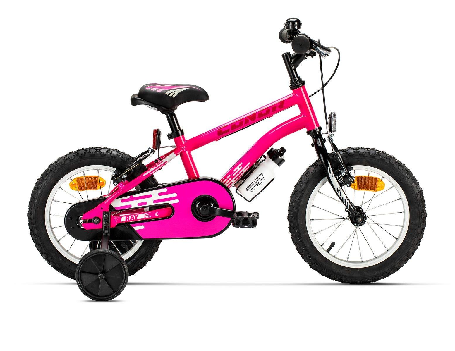 Conor Bicicleta Ray Rosa. Bicicleta Infantil de Cuatro Ruedas. Bici para niños y/o niñas de 3 a 5 años. Bike con Ruedas de Entrenamiento, ruedines. Cuadro de Acero 14 Pulgadas.: Amazon.es: Deportes