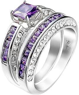 Women 2 PCS 925 Sterling Silver Plated Princess Cut Purple Amethyst Diamond CZ Engagement Wedding Ring Set